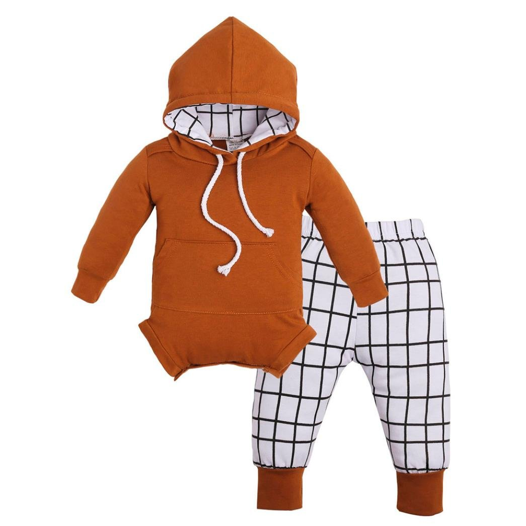 SALE ! Teresamoon Hooded Romper , Baby Girls Boys Outfits Clothes Jumpsuit Plaid Pants Set (0-3 Months, Yellow)