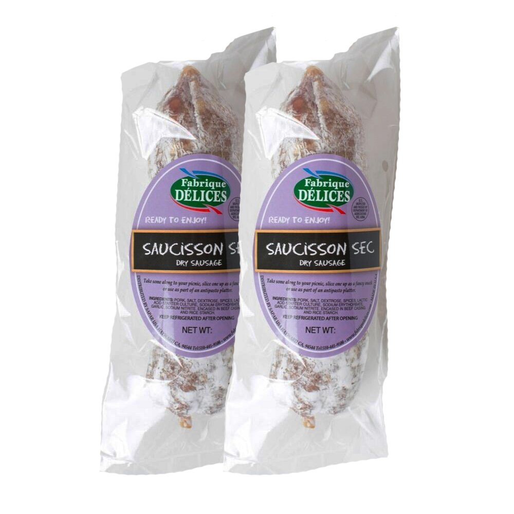 French Dry Salami - Saucisson Sec - 11oz - (Pack of 2)