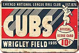 Cubs Wrigley Field 1935 Baseball Sports Vintage Decor Sign Antique Metal Signs Man Cave Decor Vintage Room Decor Signs Outdoor Wall Plaques Garage Retro Signs Bar Funny Sign Size: 11.8 x 7.8 Inches
