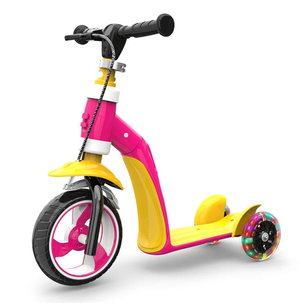 Promoción por tiempo limitado Fenfen Mini Patinete de 3 Ruedas para la Edad 1-6, Altura 80-130cm, Vespa 2 en 1 para niños con Luces LED iluminadas (Color : Amarillo)