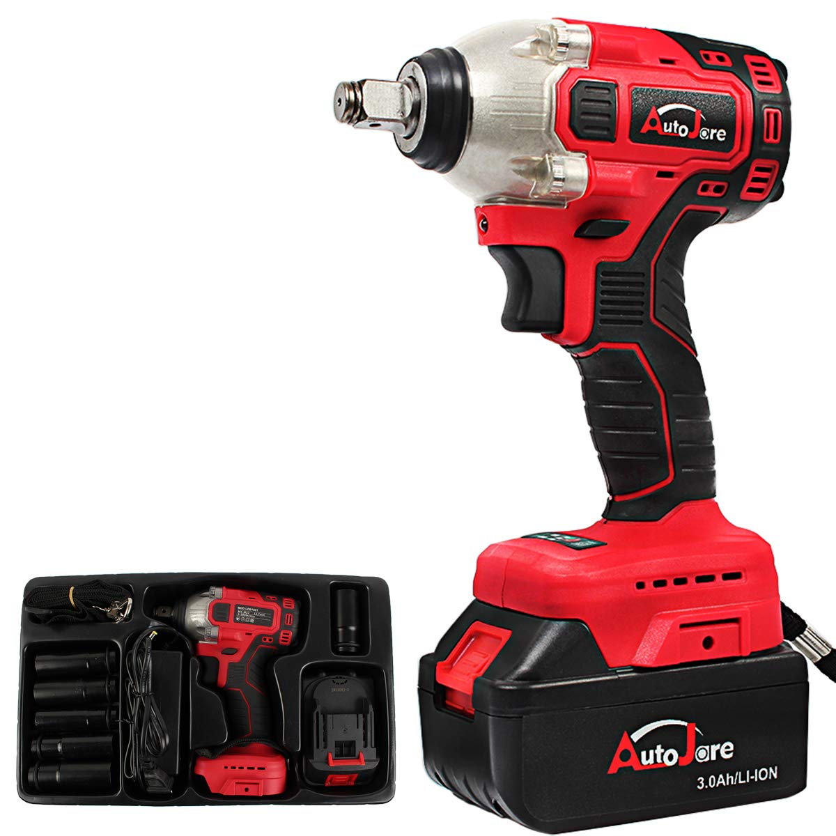 Autojare- 1 2inch Cordless Impact Wrench 20V Max 18V Impact Gun with 6pcs Sockets,Rechargeable Battery,Charger