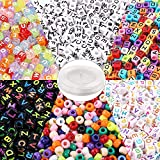 1300Pcs Letter Beads 7 Color Acrylic Alphabet Cube Beads with 1 Roll Elastic String Cord for Jewelry Making Bracelets Necklaces Key Chains