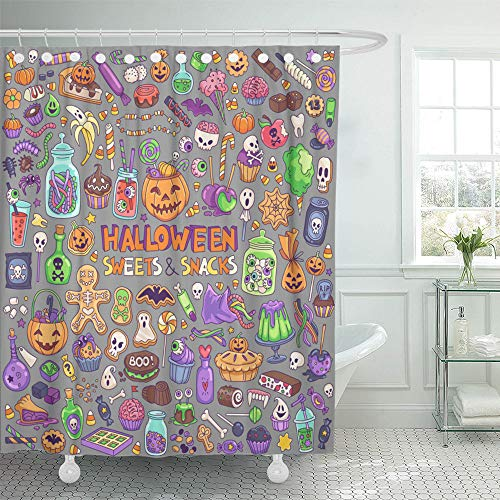 Emvency Shower Curtain Set Waterproof Adjustable Polyester Fabric Halloween Candies Sweets Snacks and Drinks for Trick Treating Kids Party 60 x 72 Inches Set with Hooks for Bathroom for $<!--$24.90-->