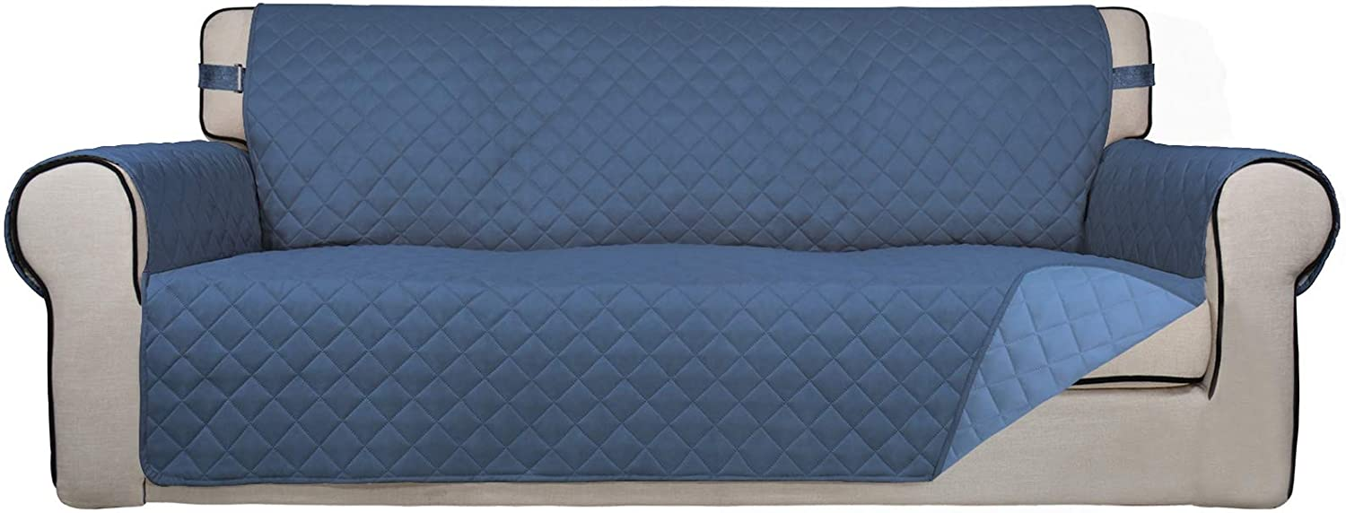 PureFit Reversible Quilted Sofa Cover, Spill, and Water Resistant Slipcover Furniture Protector, Washable Couch Cover with Non Slip Foam and Adjustable Strap for Kids, Pets (Sofa, Darkblue/LightBlue)