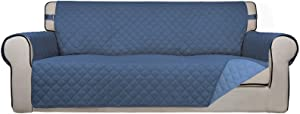 PureFit Reversible Quilted Sofa Cover, Water Resistant Slipcover Furniture Protector, Washable Couch Cover with Non Slip Foam and Adjustable Strap for Kids, Pets (OversizedSofa, Darkblue/LightBlue)