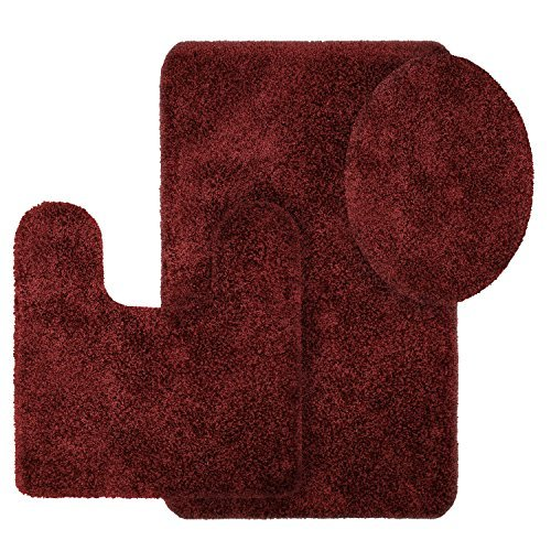 Better Homes and Gardens Thick and Plush 3-Piece Bath Rug Set, Rose Wine by Better Homes and Gardens