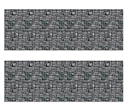 Beistle S00911AZ2 Stone Wall Backdrops 2 Piece, Multicolored