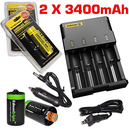 Nitecore Sysmax Intellicharge i4 , Four Bays universal home/in-car battery charger, Two Nitecore 18650 NL189 3400mAH rechargeable batteries with with 2 X EdisonBright AA to D type battery spacer/converters (Rechargeable In Car Camera compare prices)