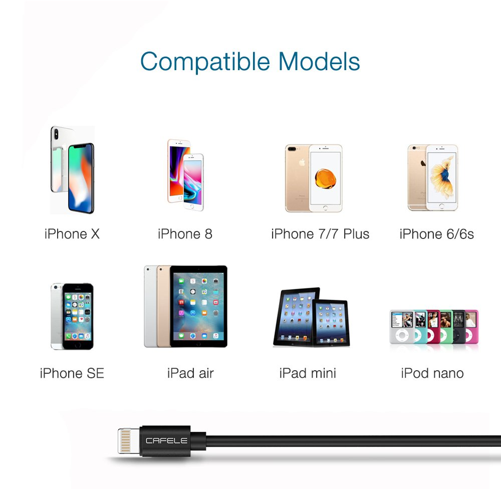Coiled Lightning Cable, CAFELE 2 Pack Retractable USB Cable iPhone Powerline Portable Flexible Data Sync Charge Cable Charging Cord Car Charger for Apple iPhone X 8 7 6 6s Plus iPad - Black, 5ft by CAFELE (Image #8)