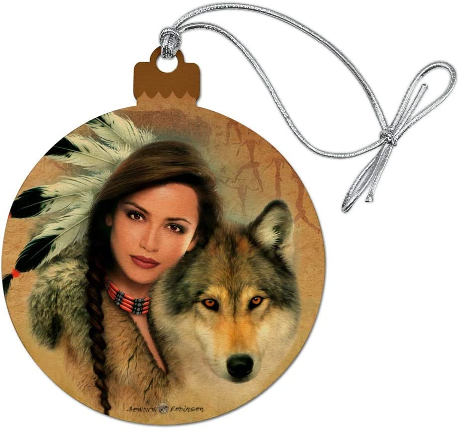 GRAPHICS & MORE Spirit of The Wolf Native American Wood Christmas Tree Holiday Ornament