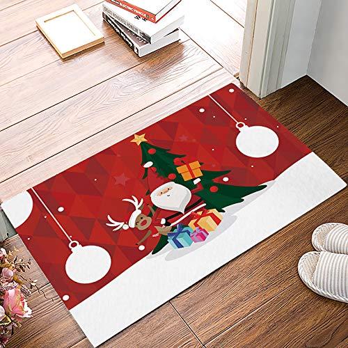 Family Decor Indoor Outdoor Door Mats Rubber Non-Slip Shoes Scraper Floor Rugs Super Absorbent Bathroom Entryway Mat, 15.7 x 23.6 Inch Merry Christams Red Santa Claus and Elk -