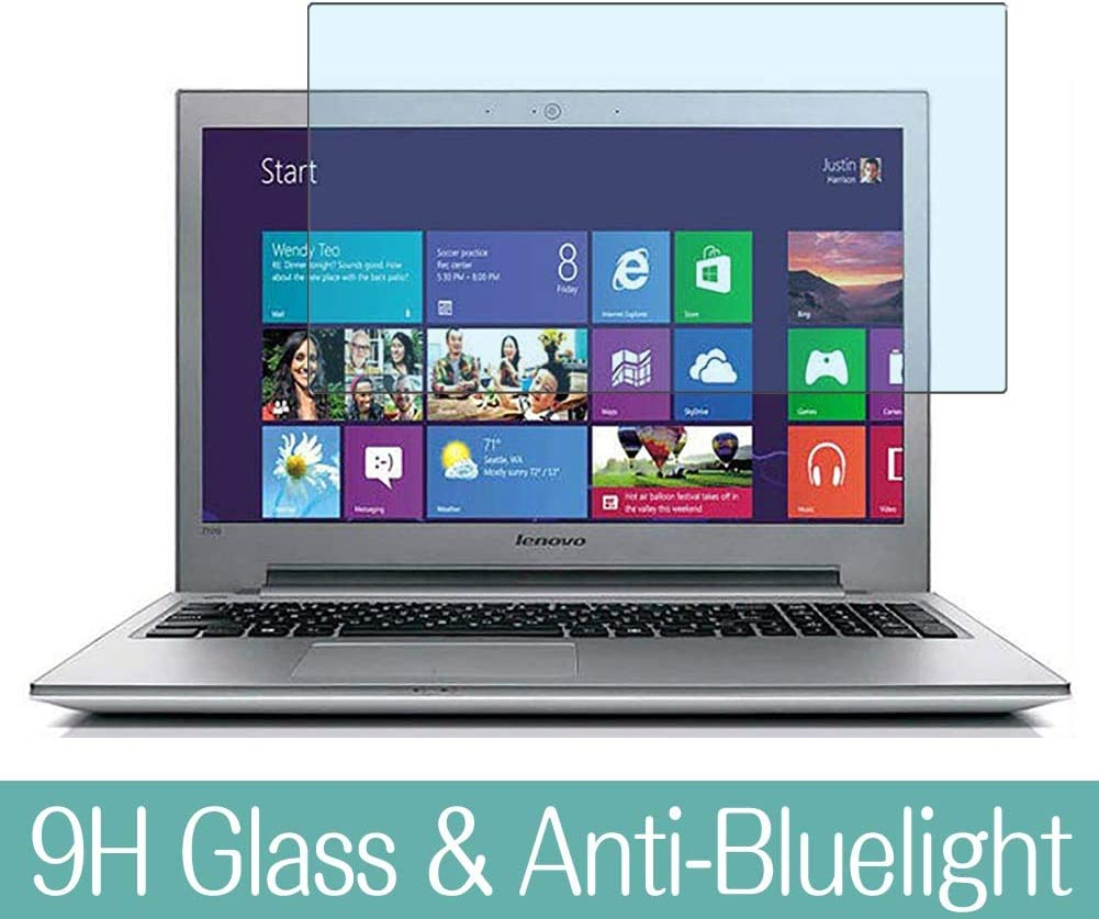 """Synvy Anti Blue Light Tempered Glass Screen Protector for Lenovo ideapad Z510 15.6"""" Visible Area 9H Protective Screen Film Protectors"""