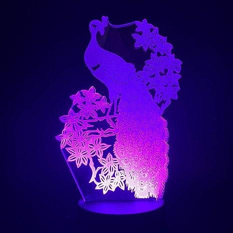Pavo Real Animal 3D Lámpara De Escritorio Mesa 7 Cambiar El Color ...