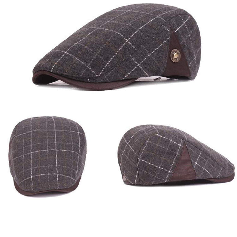 Colored Plaid Plain Wool Felt Newsboy Caps for Men Autumn Spring Summer Beret Old Man Forward Hat Male