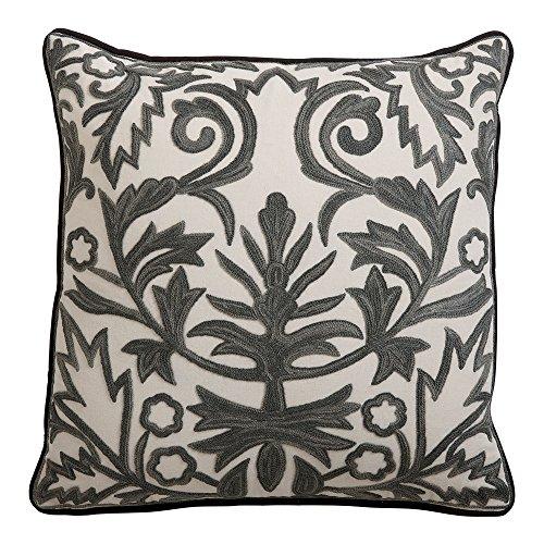 Ethan Allen Crewel Embroidered Fern Trellis Pillow