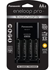 Panasonic KKJ17KHCA4A  Eneloop Pro Individual Cell Battery Charger with 4 AA Ni-MH Rechargeable Batteries, 4-Pack - K-KJ17KHCA4A