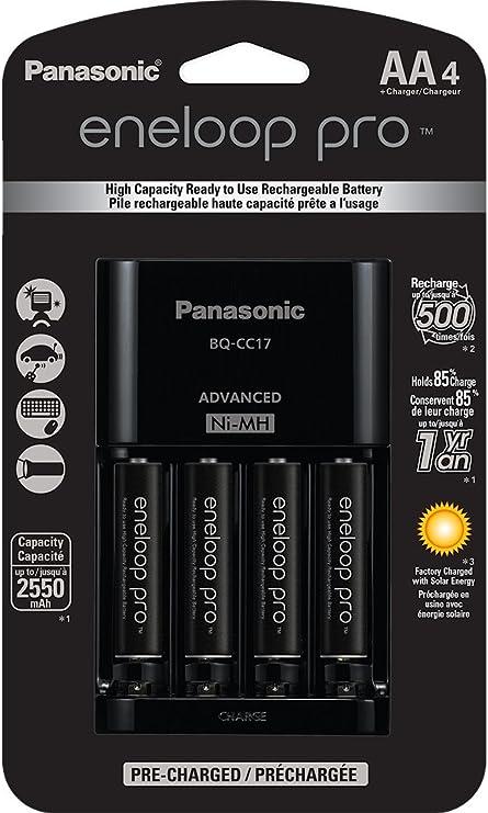4 Rechargeable Batteries Panasonic K-KJ17M3A4B Eneloop AAA 4 Position Charger
