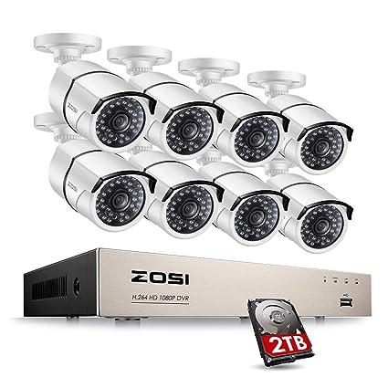 ZOSI FULL 1080P HD-TVI Video Color Security System 8 Channel DVR Reorder w/  8x2 0 Megapixel 1080P Weatherproof Indoor outdoor Bullet Cameras 2TB Hard