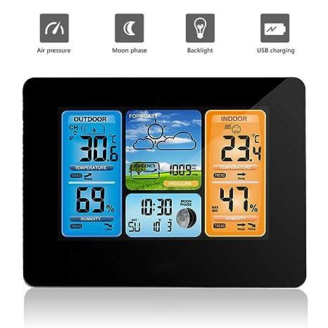 164836bf6 KOBWA Stazione meteorologica Digitale del termometro, Stazione Meteo  Wireless barometri sensori Interni ed Esterni Termometro