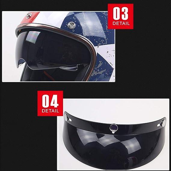 AEMAX, Certificación Dot, Casco De Moto, Clásico, Retro, Casco De Moto, Casco De Viaje, Casco De Jet, Casco JK-510, M-XL,C-L=59-60cm: Amazon.es: Hogar