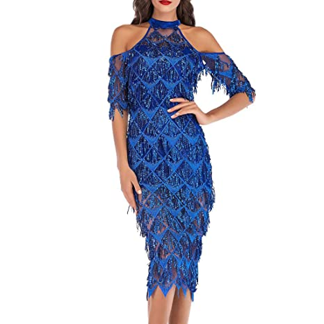 86f1523f9c6ae Amazon.com: Women's Cold Shoulder Gradient Sequin Fringe Dance Party ...
