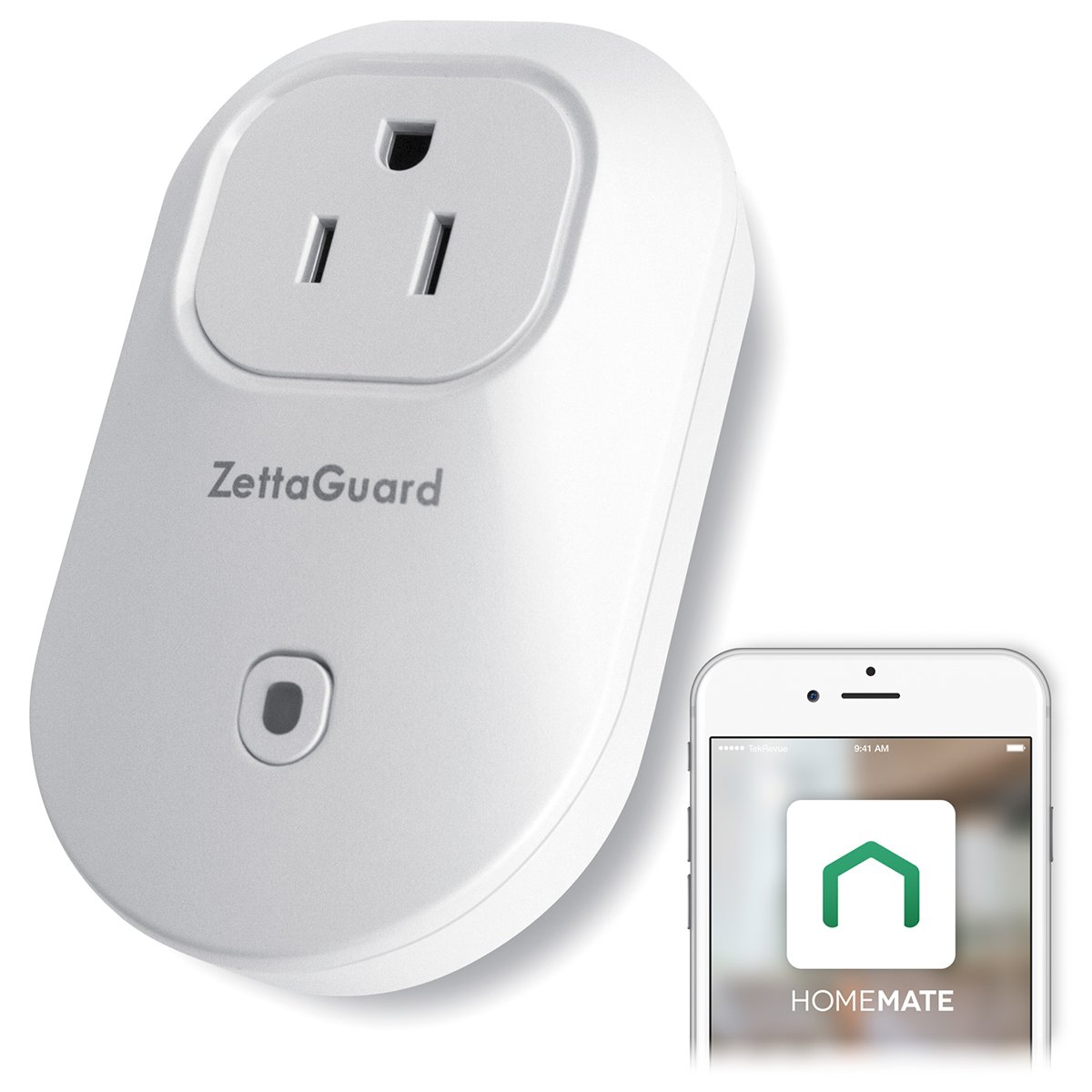 ZettaGuard S25 Wi-Fi Smart Socket Outlet US Plug Mini, Alexa Echo and Google Voice Control, HomeMate App Remorte Control Smart Plug, White