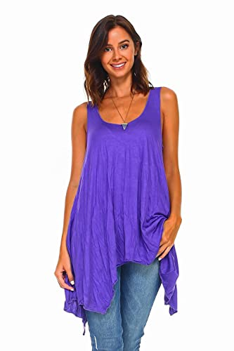 f855adb668d Image Unavailable. Image not available for. Color: Simplicitie Women's  Sleeveless Swing Flare Tunic Dress Tank Top - Regular and Plus Size - Purple