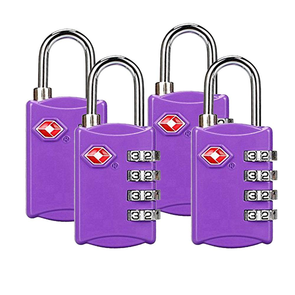 TSA Luggage Locks,TSA Approved Travel Combination Luggage Locks for Suitcases-4 Pack (Purple)