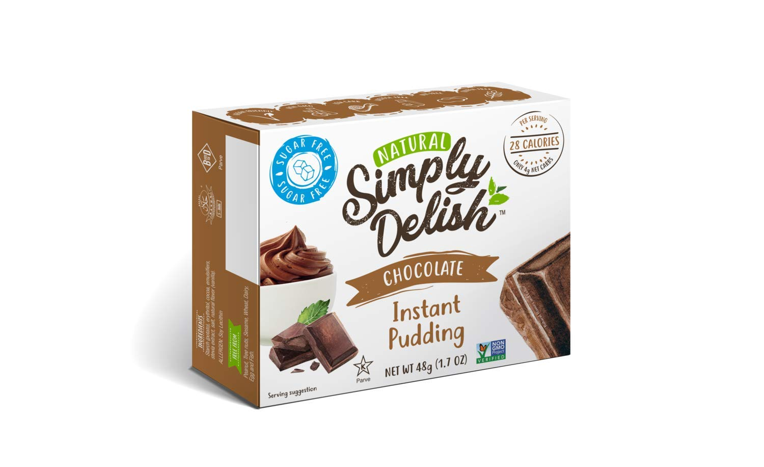 Simply Delish Natural Instant Chocolate Pudding - Sugar Free, Non GMO, Gluten Free, Fat Free, Lactose Free, 1.7 OZ (Pack of 12) by Simply Delish (Image #1)