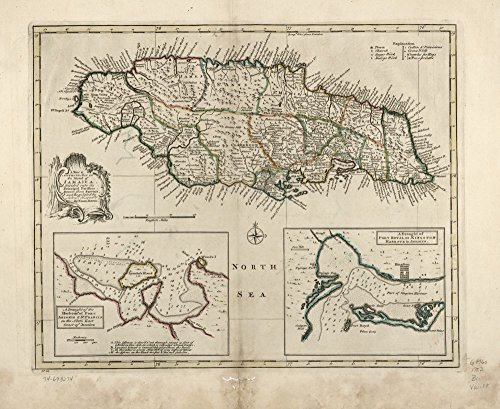 Vintage 1752 Map of the island of Jamaica. Divided into its principal parishes. (Jamaica Map)