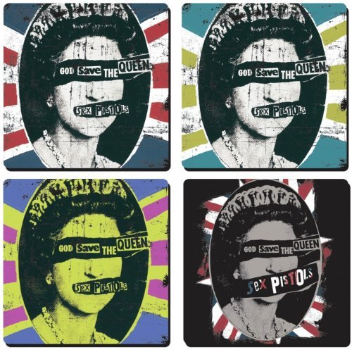 (Sex Pistols Queen / Union Flags set of 4 cork backed drinks coasters (hb))