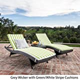 Savana 3Pc Outdoor Wicker Lounge with Water Resistant Cushions & Coffee Table (Grey/Green&WhiteStripes) Review
