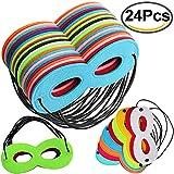 Outee 24 Pcs Superhero Masks Super Masks Super Hero Cosplay Party Eye Masks Felt Masks with Elastic Rope for Kids Party, Multicolor