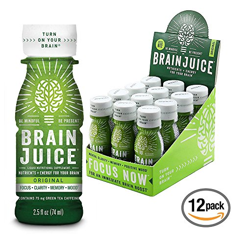 BrainJuice Brain Booster Vitamins Memory Focus Supplement Shots – Brain On, Enhance IQ, Clarity, Memory, Mood – Alpha GPC, Choline, Green Tea Extract Energy Supports Concentration Factor – 12 Pack B