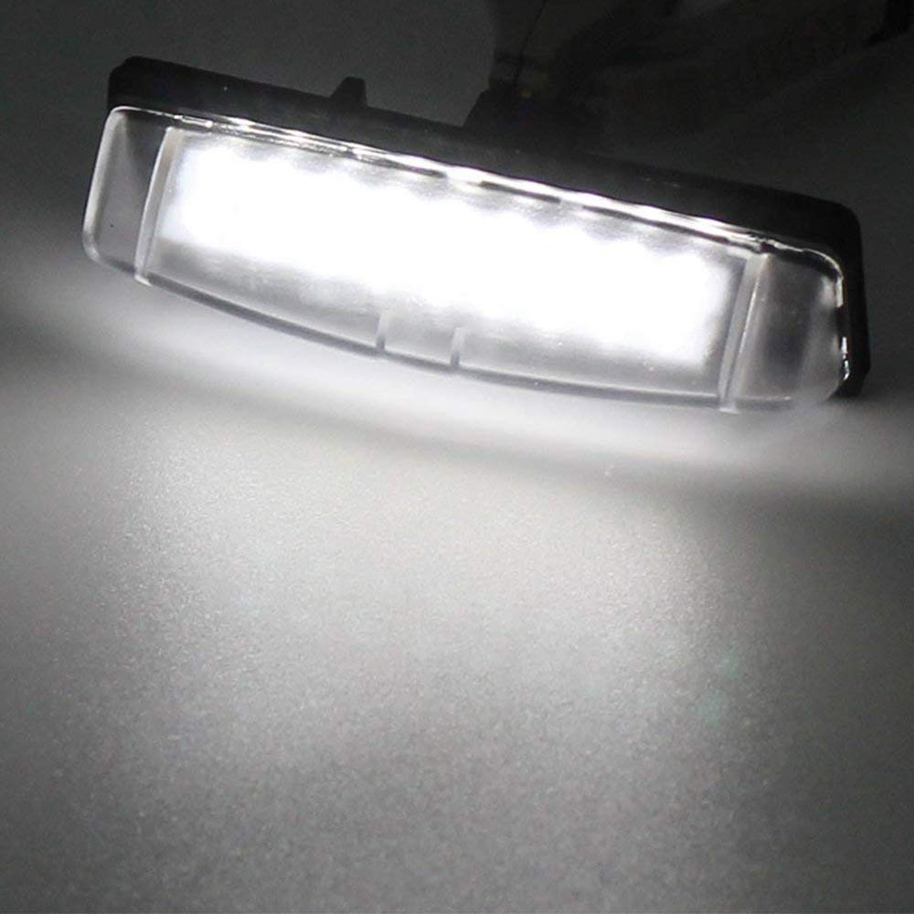 Car License Plate LED Lights 24-3528-SMD Lamp Assembly for Toyota Camry Yaris EZ VIOS COROLLA LEVIN Error Free 3W 18 Led White License Plate 2-pack