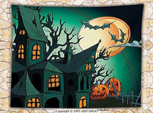 Halloween Decorations Fleece Throw Blanket Haunted Medieval House Theme Cartoon Bats in Twilight Gothic Fiction Spooky Art Throw Orange Teal (West Elm Halloween Decorations)