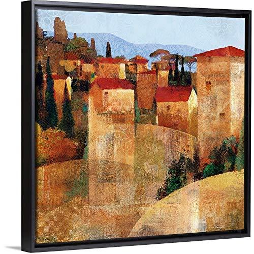 Keith Mallett Floating Frame Premium Canvas with Black Frame Wall Art Print Entitled Tuscan Hillside ()