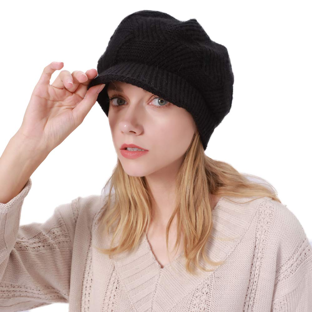 ToVii Womens Winter Beanie Hat with Visor Cable Knit Newsboy Cap Soft Fleece Lined Beret Skull Cap for Lady Black