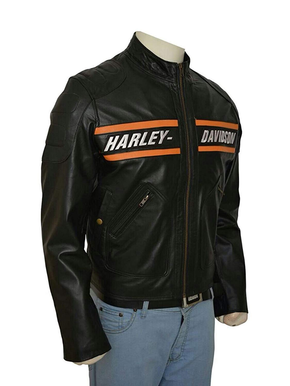 WWE HD Goldberg Harley Motorcycle Black Leather Biker Jacket (M, Genuine Lambskin Leather)