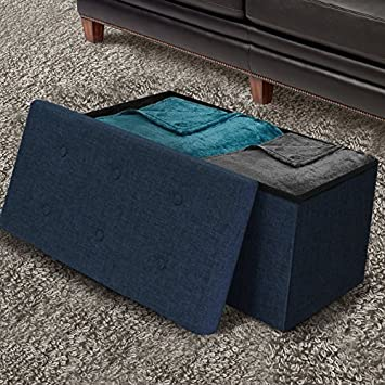 Sorbus Storage Ottoman Bench Collapsible Folding Bench Chest with Cover Perfect Toy and Shoe Chest, Hope Chest, Pouffe Ottoman, Seat, Foot Rest, Contemporary Faux Linen Navy Blue