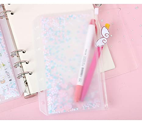 Amazon.com: A5 A6 Moved sequin PVC Transparent File Small ...