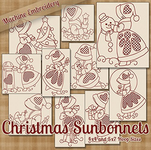 Christmas Sunbonnets Redwork Embroidery Machine Designs on CD - 10 Cute Holiday Patterns - 2 Sizes Each - PES JEF EXP XXX VIP HUS - Redwork Machine Embroidery Christmas