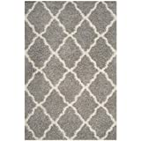 Safavieh Dallas Shag Collection SGD257G Grey and Ivory Area Rug, 8 feet by 10 feet (8' x 10')