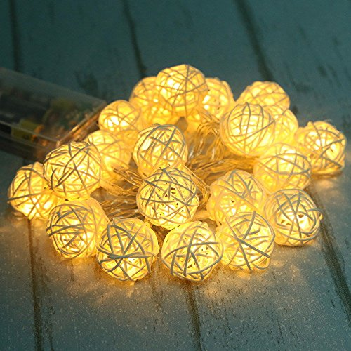 (AOTOSOLO 7.2ft/2.2m 20LED Wooden Rattan Ball String Lights, Battery Powered Globe Fairy Lantern, for Christmas/Outdoor/Camping/Garden/Yard/Patio/Party/Wedding/Home?Decoration (Warm White))