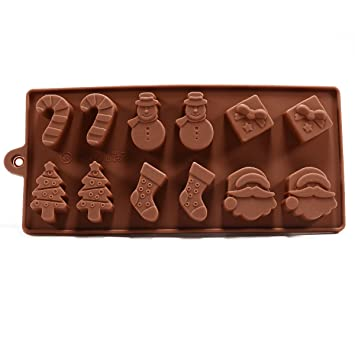 Molde Horneado Silicona 6 Formas Navidad Chocolate Tarta Hielo Gelatina Fondant - Marrón, 6 figuras navidad: Amazon.es: Hogar