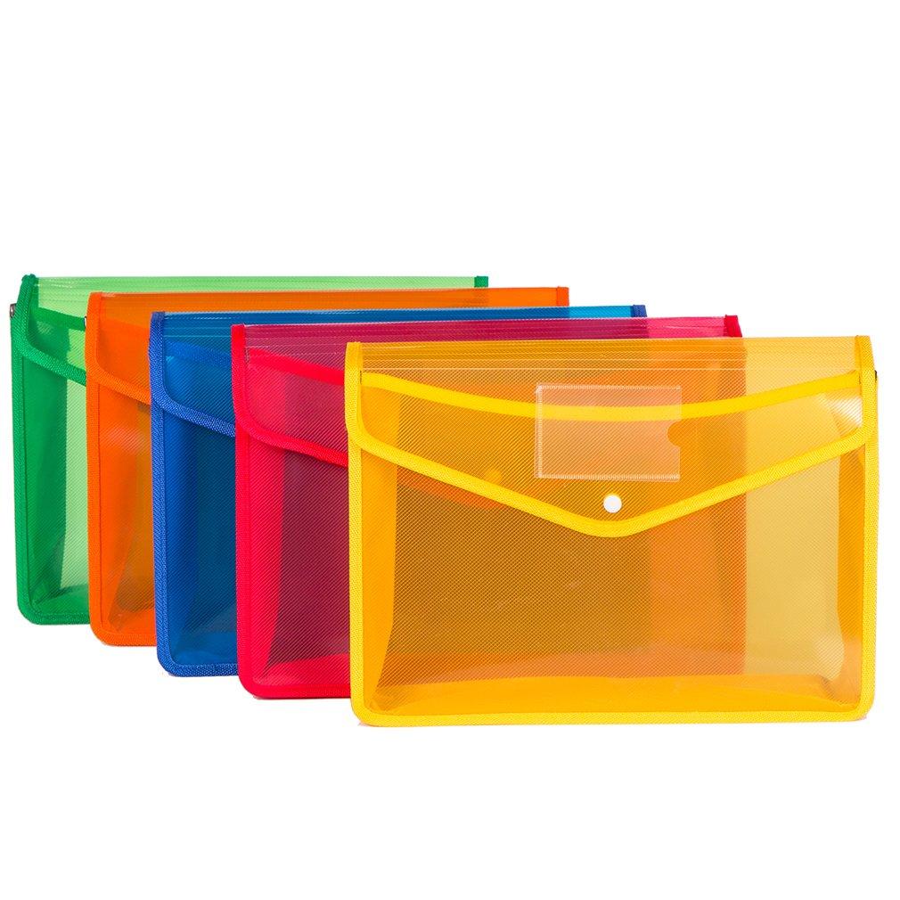 Imanr Premium Poly Envelope with Closure FolderCatcher5pc Mix Colors SetFC SizeTranslucen