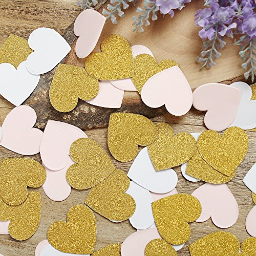 Heart Double Sided Paper (Glitter Paper Confetti Heart, Wedding Party Decor and Table Decor,Heart confetti Glitter Paper Confetti, DIY Kits,400pcs,PINK/WHITE/GOLD)