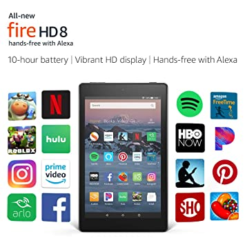Amazon all new fire hd 8 tablet up to 10 hours of battery all new fire hd 8 tablet hands free with alexa 8quot fandeluxe Choice Image