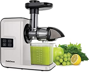 Chef'sChoice Cold Press Juicer Extractor Machine Masticating Quiet Motor Digital Controls Anti-Clog Reverse Function Nutrient Preserving For Juicing Fruits Veggies and All Greens, 150-Watts, White