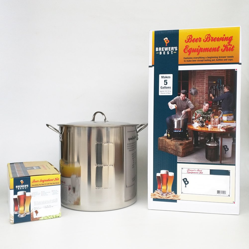 Brewer's Best Deluxe Equipment Kit (w/ Better Bottle) with India Pale Ale Beer Ingredient Kit and 30 Qt Stainless Steel Brew Kettle